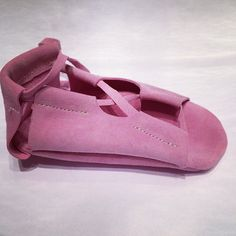pink suede gladiators - handmade in Poland by www.tinytoes.pl