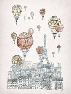 Fleck Illustration - Art of imaginary architecture // Voyages Over Paris Print Tour Eiffel, Illustrations, Illustration Art, Balloon Illustration, Art Parisien, Paris Canvas, Framed Art Prints, Canvas Prints, Paris Art