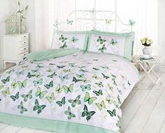 SUPERB TRENDY FUNKY COTTON BUTTERFLY GREEN TWIN DUVET SET QUILT COVER