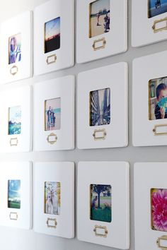 I don't like these frames, but I do like the idea of having a small label on each mat of the Instagram wall.
