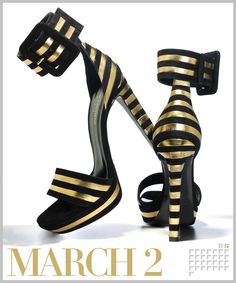 """Weekend wow! At Saint Laurent, Hedi Slimane does the near impossible by making horizontal stripes slimming and an ankle """"belt"""" that's calf-flattering.    Saint Laurent by Hedi Slimane Paloma platform sandals, $1,195  ysl.com"""