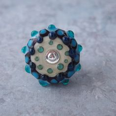 Bohemian Glass Mandala Ring, Blue and White Mandala Flower Ring, Turquoise Statement Ring, Blue Cocktail Ring by LaSistaBeads on Etsy