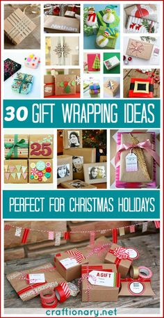 DIY gift wrapping ideas for Christmas Holidays. Wrap your gifts with cute, easy and simple gift wraps perfect for friends, family and kids. Best presents