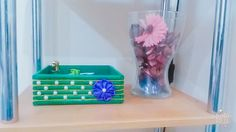 Cute wooden box made by me with scrap wood n ribbon flower.. i love colour combination.