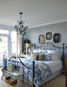 Neutral Farmhouse Master Bedroom Makeover Before After . Home Tour Saw Nail And Paint. Ideas For Organizing Refreshing Your Bedroom For Spring . Home and Family French Country Bedrooms, Country Bedroom Blue, Farmhouse Master Bedroom, Woman Bedroom, Ladies Bedroom, Shabby Chic Bedrooms, Cottage Bedrooms, Blue Rooms, Blue Walls