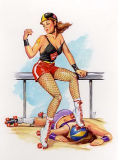 Bill Garland pin up. I swear she's wearing a Burning River Roller Girls logo!