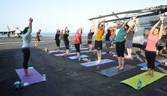 Yoga class on the flight deck of the aircraft carrier USS George H.W. Bush (CVN 77), July 20th, 2014 [3872x2220]