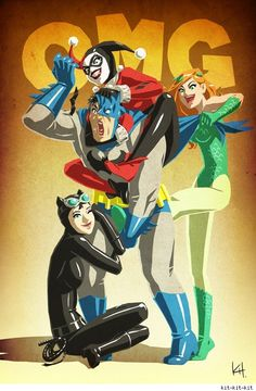 Fun art from kit-kit-kit: Batman getting his ass handed to him by Harley Quinn, Poison Ivy and Catwoman.