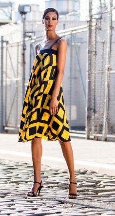 Paul Carroll SS16 Emily Dress Bias cut graphic print trapeze dress Yellow/Navy Silk Crepe Print/Silk Crepe