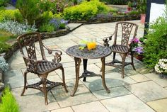 Garden Furniture Antique Set Table Chair Relax Summer Patio Outdoor Seat Bistro