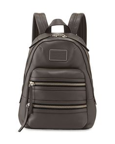 Domo+Leather+Biker+Backpack,+Faded+Aluminum+by+MARC+by+Marc+Jacobs+at+Neiman+Marcus.