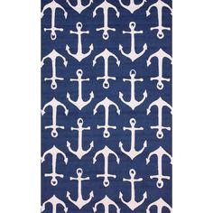 """nuLOOM indoor/ outdoor Novelty """"Nautical Anchors"""" rug (5' x 8')"""