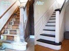 rénovation escalier avec peinture blanche et noire et moulure murale- photos avant-après