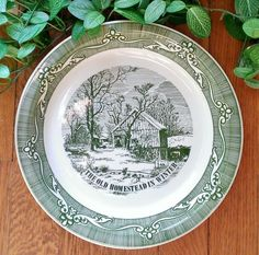 """Royal China Currier & Ives """"The Old Homestead in Winter"""" Pie Plate Green. $15 on Ruby Lane, May 26, 2014"""