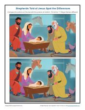 Bible Story Spot the Differences Activity for Kids - Shepherds Told of Jesus Bible Story Crafts, Bible School Crafts, Sunday School Crafts, Bible Stories, Bible Activities, Activities For Kids, A Christmas Story, Christmas 2019, Xmas