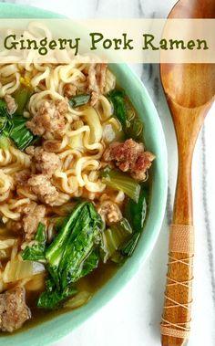 Pork Ramen Recipe from .Gingery Pork Ramen Recipe from . Pork Ramen Recipe, Pork Soup, Ramen Noodle Recipes, Pork Recipes, Asian Recipes, Cooking Recipes, Healthy Recipes, Ramen Noodles, Pork Pasta