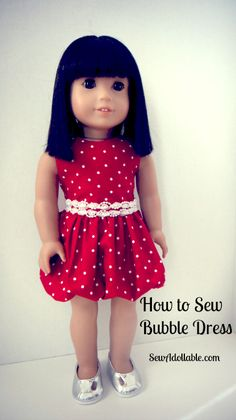 How to Sew Bubble Dress for American Girl Dolls. Free Sewing Pattern for 18 Inch Dolls How to Sew Bubble Dress for American Girl Dolls. Free Sewing Pattern for 18 Inch Dolls Ropa American Girl, American Girl Crafts, American Doll Clothes, American Girl Dress, Sewing Doll Clothes, Baby Doll Clothes, Doll Sewing Patterns, Doll Dress Patterns, Little Doll