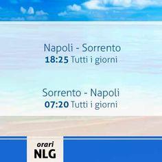 Buona sera a tutti. Oggi menzioniamo gli orari della linea Napoli - Sorrento che tutti i giorni garantisce le sue corse. Per info sugli altri collegamenti, servizi ed acquisto biglietti on line vi rimandiamo al nostro sito http://www.navlib.it/ita/index.asp