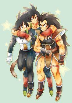 Bardock with his sons, Goku and Raditz