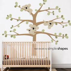 Tree Wall Decals with Koalas Add our Tree with Koalas to finish off your nature themed baby nursery. The cute and cuddly Koalas will always put a smile on your face. The Koala and leaf decals can be placed anywhere you wish. So be creative! Nature Themed Nursery, Nursery Themes, Koala Nursery, Tree Decals, Fantastic Baby, Nursery Wall Decals, Baby Room Wall Stickers, Simple Shapes, Tree Wall