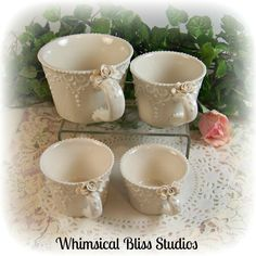Whimsical Bliss Studios - Elegant White Lace Measuring Cups