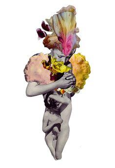 Surrealistisch portret dmv collage techniek.