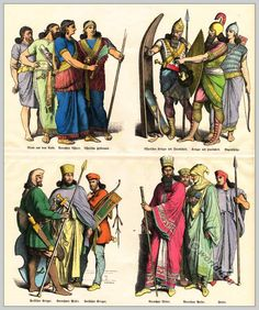 Costumes of Assyrians, Medes and Persians in ancient times.