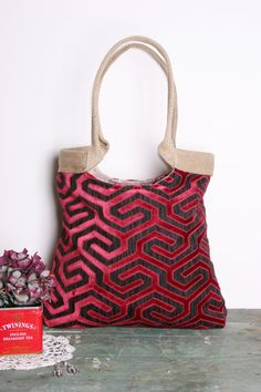 Red geometric tapestry tote bag with burlap by madebynanna on Etsy, $68.00