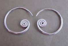 tribal style hoop earrings, silver handmade