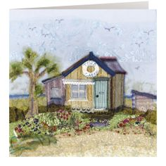 HD06 Tow's Cabin - Handmade Cards from Abigail Mill Embroidery Freehand Machine Embroidery, Free Motion Embroidery, Machine Embroidery Applique, Embroidery Art, Embroidery Designs, House Quilts, Fabric Houses, Fabric Cards, Fabric Journals