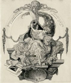Franz von Bayros - A gallant pair with a rose garland under a Heaven of music including a quote, therefore drink