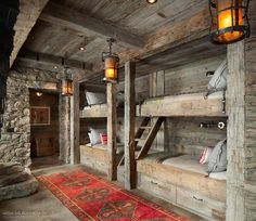 All I Need is a Little Cabin in the Woods Photos) Bunk room cabin bedroom Bunk Rooms, Cool Bunk Beds, Little Cabin, Log Cabin Homes, Tiny Log Cabins, Cabin Interiors, Cabins In The Woods, Cabins In The Mountains, Mountain Cabins