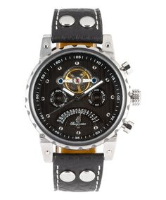 Burgmeister Black Limoges Leather-Strap Watch 02a5c260a3