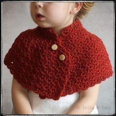 Child Capelet - Crochet 12mth-5 YouCanMakeThis.com PATTERN AVAILABLE . . . for a fee.
