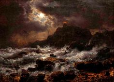 Andreas Achenbach Norwegian Coast by Moonlight Oil on canvas, 1848 10 x 14 inches x cm) Crocker Art Museum Nocturne, Landscape Art, Landscape Paintings, Dark Paintings, Landscapes, Moonlight Painting, Spiritus, Moon Art, Horror Art