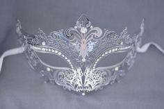 Silver / Grey laser cut metal masquerade mask by Stefanelbeadwork