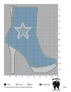 0 point de croix botte bleue - cross stitch blue boot