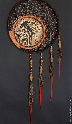 """Декоративный ловец снов """"Сон Навахо"""" - коричневый,ловец снов,ловец сновидений"""