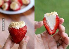 Cheesecake stuffed strawberries. Holy crap.