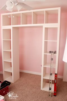 Genius shelving unit and desk using an IKEA Expedit. Perfect storage solution for a child http://www.realcoake.com/2014/08/ikea-expedit-shelving-unit-desk.html?utm_content=buffer885f8&utm_medium=social&utm_source=pinterest.com&utm_campaign=buffer#_a5y_p=2221202