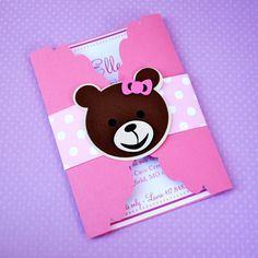 Cute Custom Gate Fold Teddy Bear Invitations  by prettypaperparty, $25.00