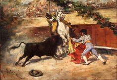 """Mariano Fortuny y Marsal Reus, Cataluña, España  b:1838-74 Considerado junto a Eduardo Rosales como uno de los pintores españoles más importantes del siglo XIX después de Goya.. """" El quite"""". Ir a"""