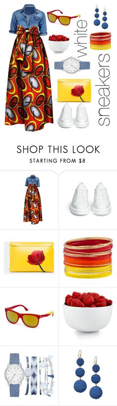 """""""Maxi dress & white sneakers"""" by onelittleme ❤ liked on Polyvore featuring Robert Clergerie, Loewe, Diesel, The Cellar, A.X.N.Y. and Kenneth Jay Lane"""