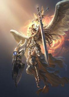 league of angels athena Dark Fantasy Art, Fantasy Art Angels, Fantasy Art Women, Fantasy Girl, Fantasy Artwork, League Of Angels, Fantasy Warrior, Angel Warrior, Fantasy Creatures