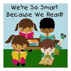 """So Smart Because We Read Classroom Poster http://www.zazzle.com/so_smart_because_we_read_classroom_poster-228238585204727284?rf=238756979555966366&tc=PtMPrssKRMreadposter Several children with books read at a table, while lying on the floor and sitting on the floor and kid style text reads """"We're So Smart Because We Read!"""" on a colorful, fun classroom poster that encourages reading, great for libraries, school classrooms, kids bedrooms!"""