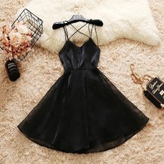 A-Line Spaghetti Straps Black Homecoming Dresses , Formal Party Dress - Best Picture For Formelle kleider For Your Taste You are looking for something, and it is going t - Hoco Dresses, Prom Party Dresses, Pretty Dresses, Formal Dresses, Dress Prom, Black Homecoming Dresses, Evening Dresses, Casual Dresses, Skater Dress