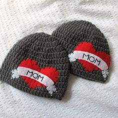 Twin Set Tattoo I Heart Mom Hat with Felt Appliqué - Boy Baby/Toddler Hat sizes 0-3, 3-6, or 6-12. $52.00, via Etsy.