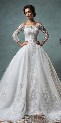Look spectacular in this Off-the-shoulder Long Sleeves Mermaid Wedding Dress. This gown includes a detachable train! Learn more at http://www.cutedresses.co/product/off-the-shoulder-long-sleeves-mermaid-wedding-dress/