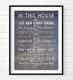 In This House Our Christian Bible Verse Family Rules ART PRINT, Scripture inspirational wall and home decor poster UNFRAMED sign, Housewarming - Christmas gift, ALL SIZES >> See this great image : Handmade Gifts House Rules Sign, Family Rules Sign, Family Motto, Family Wall, Family Bible Verses, Bible Quotes, Rules Quotes, Wall Quotes, Family Mission Statements