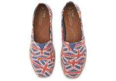 For the Brit in you. Union Jack Flag Linen TOMS Espadrilles